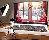 YongFoto 2,2x1,5m Foto Hintergrund Weihnachten Vinyl Erkerfenster Weihnachtsgirlande Rentier-Kissen Verschwommene Schneeflocken Neujahr Fotografie Hintergrund Foto Leinwand Kinder Fotostudio