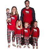 Pigiama Famiglia Natale Set di Cotone per Donna Uomo Bambini Neonato Top a Manica Lunga + Pantaloni Lunghi Abiti Coordinati Famiglia Pigiami Natalizio