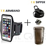 Adjustable Sports Running, Jogging, Gym, Yoga, Aerobics, Cycling Anti-Slip Ultra Light Weight Armband Mobile Holder + Rotein Shaker/Sipper / Gym Bottle/Water Bottle/Good Quality Shaker Bottle (Combo)