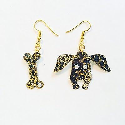 Boucles d'oreilles chiens - Boucles d'oreilles chiens - Bijoux tendance - Bijoux chiens - Bijoux Rockabilly - Boucles d'oreilles fantaisie - Imprimés animaliers