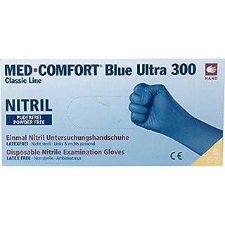 Einmalhandschuhe aus Nitril Ampri Med-Comfort Ultra 300 blau XXL Gr. 11, puderfreie Nitrilhandschuhe, 100 Stück/Box