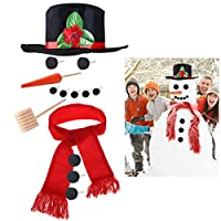 iBaseToy Snowman Making Kit - Includes Hat Scarf Wooden Carrot-Nose Tobacco Pipe and Black Dots for Eyes Mouth Buttons