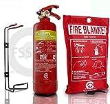 PREMIUM extinguidor, 1 litro de espuma, con manta del fuego, con certificado CE