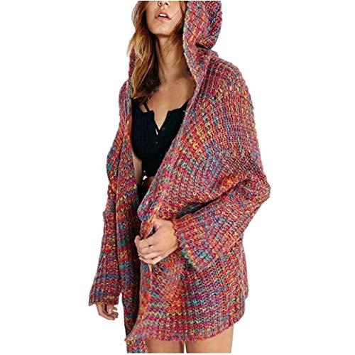 ITISME FRAUEN BLUSE Frauen Langarm Winter Kapuzen Farbe Strickjacke Mantel