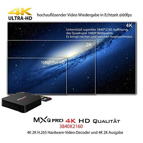 Bqeel MXQ Pro Android TV Box Android 5.1 Amlogic S905 Chipsatz Quad-Core 1GB+8GB KODI(XMBC) vollständig beladen eingebaute WIFI 4K Streaming Media Player mit HDMI DLNA - 5