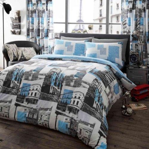 Bettbezug, bedruckt Set Weich & extrem strapazierfähig Beste Qualität | Muster, | London zu Paris, Blau | von Coton Modus, King Size (Tröster London Set)