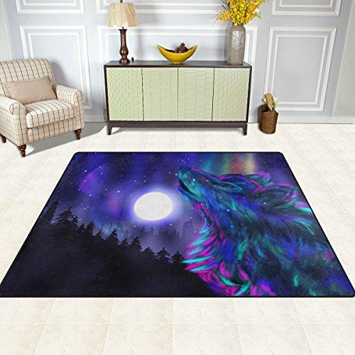Bereich Teppich, Galaxy Wolf Moon Print Teppich Super Soft Polyester Große rutschfeste Modern Bad-Teppiche für Schlafzimmer Wohnzimmer Hall Abendessen Tisch Home Decor 121,9x 160cm, Textil, multi, 58 x 80 inch