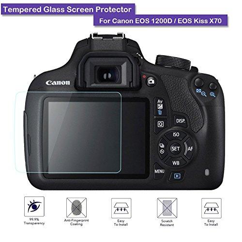fiimi LCD gehärtetem Glas Displayschutzfolie für Canon EOS 1200D/EOS Kiss x70,9H Härte, 0,3mm Stärke, aus echtem Glas (Stärke Kiss)