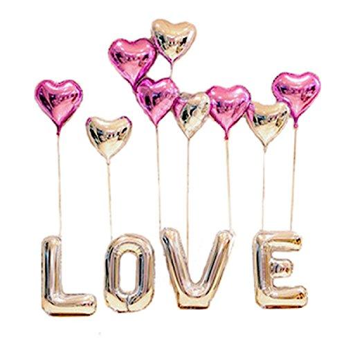 """our fantasy time Super romantische""""LOVE""""und Herzchen Luftballon Set, ideal als Deko zur Hochzeit, zum Valentinstag oder zum Antrag, Aluminiumfolie Ballons, Folienballon, Deko für Geburtstag party, Helium Ballons,"""