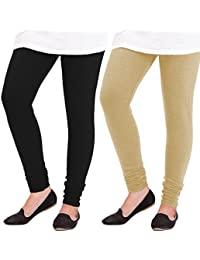 ROOLIUMS ® (Brand Factory Outlet) Women Woolen Lycra Leggings Combo Pack Of 2 For Winter (Black And Beige)