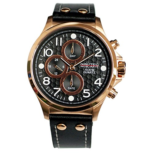 Nautec No Limit Men's Quartz Watch Fortune Fort-QZ-LTRG-BK with Leather Strap