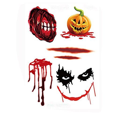 HLHN Herren Damen Halloween Temporäre Tattoo Ungiftig Umweltschutz Wasserdichte Aufkleber Dekor