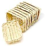 Set cestini di vimini miniatura con manico, cesto intrecciato fatto a mano, ca. Ø 4,5cm, 10 pezzi