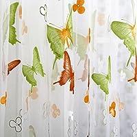 yiyida 2pezzi farfalla Stampa Sheer Tenda a pannello Finestra Balcone Tulle divisorio colorato, 1m larghezza 2m lunghezza, Green and yellow butterfly, 2mx2.7m