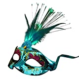 Lenfesh Party Feder LED Maske, Frauen Venezianisch LED Ballaststoff Maske  Maskerade Kostümfest Prinzessin Feather Masken