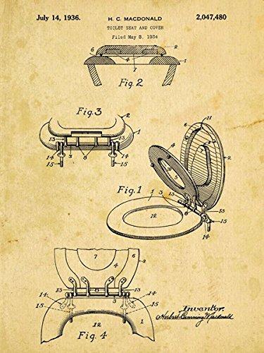 Homebody Accents WC-Sitz Patent Zeichnen Metall Schild, Vintage, Badezimmer, Steampunk, industrieller Décor - Patent-metall