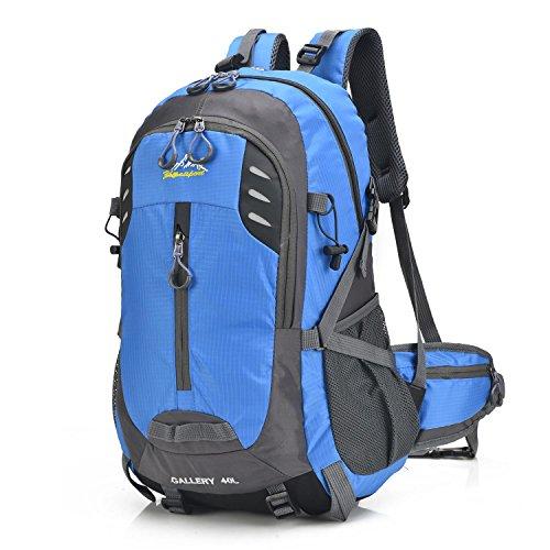 Portable alpinismo zaino Oxford multifunzione ricreazione leggero zaino arrampicata in viaggio escursioni equitazione business studenti sport spalla borsa 5 colori H52 x W30 x T17 cm , light green Blue