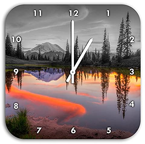 Sunrise at a small lake black / white, wall clock diameter 28cm with white pointed the hands and face, decoration items, Designuhr, aluminum composite very nice for living room,