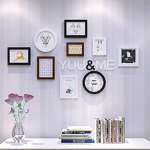HJKY Photo Frame Wall Set Les pays nordiques des murs décorés de photos de wapitis dans un moderne minimaliste salon salle à manger Chambre à coucher décoration murale mur photo d'idées de caisse, noir et blanc teak