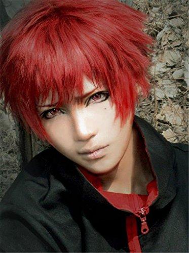 tueme Peruecke kurz Rot Halloween Party Haar mit Perueckennetz Sabaku No Gaara Akashi Seijyuurou (Kurze Rote Perücke Halloween)