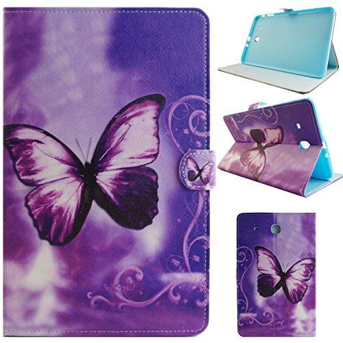 Galaxy Tab E (9.6 Zoll) SM-T560/T561 Tablet Hülle,Asnlove PU Ledertasche Schutzhülle+Hart Hülle für Samsung Galaxy Tab E (9.6 Zoll) SM-T560/T561 Lila Schmetterlings-Traum-Muster Hülle Flip Tasche Schutz Etui Standfunktion Tablet Cover (4 Samsung Für Origami Tab Case)