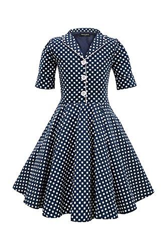BlackButterfly Kinder 'Sabrina' Vintage Polka-Dots Kleid im 50er-J-Stil (Nachtblau, 11-12 J / ()