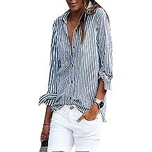 GUOCU Mujer Blusa Camisa - Manga Larga - Rayas - Cuello EN V Profundo - Gasa