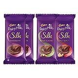 #10: Cadbury Dairy Milk Silk, Pack of 4 (Silk Chocolate Bar, 2x150g + Silk Roast Almond, 137g, Silk Fruit and Nut, 137g)