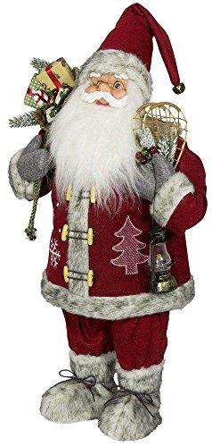 Weihnachtsmann Santa Nikolaus Kyle mit schönem Gesicht und vielen Details / Größe ca.60cm / roter Fellmantel mit Motiven, rote Fellmütze, rote Hose, Fellstiefel, Trendyshop365