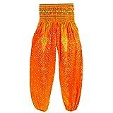 Vicbovo Homme Femme Unisexe Yoga Harem Pantalon élastique à la Taille Boho Hippie Gypsy Coupe Ample Baggy Pantalon de Yoga Free Size Orange