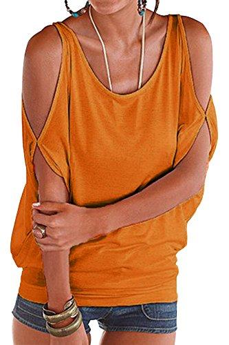 YOINS Damen Kurzarm Bluse Schulterfrei Batwing Weit Rundhals Carmen Oberteil Tops T-Shirt Sommerbluse Orange XS/EU32-34