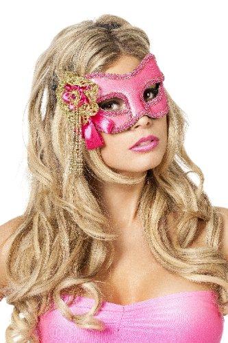 Venezianische Maske mit Perlen, Rosa