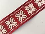 'Sparkles Gems' Christmas Ribbon Wired Wire Edge Trimming Great for Making Bows Gift Packaging x 2 Metres (Red White Christmas Nordic Snowflake Ribbon 38mm)