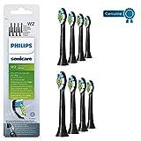 Philips Genuine Sonicare Optimal White Replacement Brush Heads, 8 Pack, Black - HX6068/13