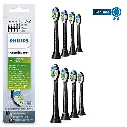 Philips sonicare optimal bianco diamondclean brushsync abilitato testine di ricambio, nero, confezione da 8
