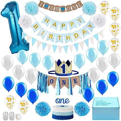Queta Décorations 1er Anniversaire bébé Garçon première décoration Party Supplies Set, Kit de...