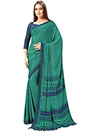 Ligalz Women's Green Crepe Silk Saree (Special Discounted Price Only For THE GREAT INDIAN FESTIVAL)