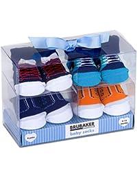 BRUBAKER 4 Pairs of Baby Socks Boys 0-12 Months - Fun Sneaker