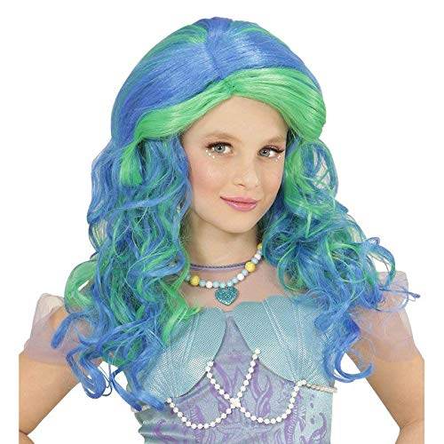 Lively Moments Perücke Meerjungfrau in türkis-grün für Kinder / Lockenperücke Mermaid / Kinder Kostüm Zubehör