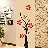 #7: Decals Design Wall Sticker 'Red Flowers With Vase Home Office Decoration Vinyl'