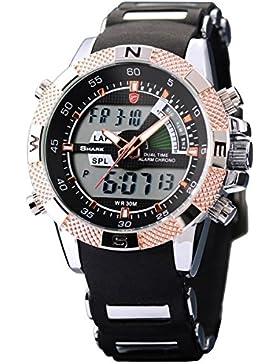 Shark Dual LCD Digital Armbanduhr Herrenuhr Quarzuhr Sportuhr Datum Uhr Watch SH045