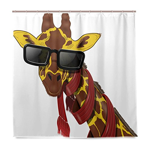 Miloha Badezimmer Duschvorhang Giraffe in Rot Schal und Sonnenbrille Design Haltbarer Stoff Bad Vorhänge Schimmelresistent Wasserdicht Badezimmer mit 12Haken 183,0cm x183,0cm