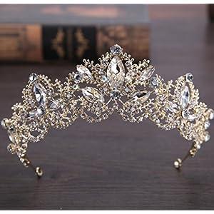CYY Braut Kopfschmuck Kristall Krone 5.5-27cm Gold Hairband Hochzeit Zubehör