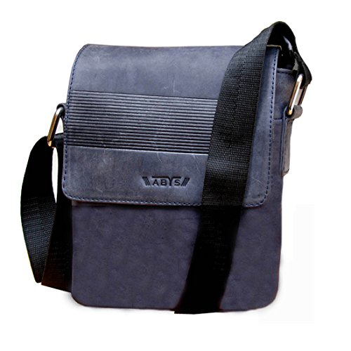 ABYS Blue Genuine Leather Cash Bag||Messenger Bag||Neck Pouch||Travel Pouch||Passport Pouch for Men & Women
