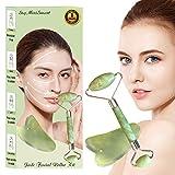 Jade Roller Massagegerät Gua Sha Jade Roller Anti-Aging-Gesichtsroller Therapie 100% Natürliche Jade Facial Roller Gesicht abnehmen und bewegen Massagegerät Gesichtsmassage, Körperhaut, Rücken (Grün)