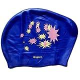 Schöne Wasserdicht Premium-Langes Haar Schwimmkappe für Frauen-Dark Blue