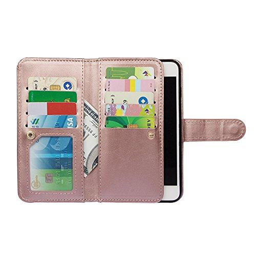 """iPhone 7 plus (5.5"""")Hülle wallet case,xhorizon TM FM8 2 in 1 Premium Leder [Brieftasche Funktion] [Magnetisch Abnehmbar] Wristlet Geldbörse Mehrfache Karten-Schlitze Abdeckung Folio Schutzhüller für i Rose Gold"""
