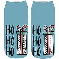 Zolimx 3D Print Cartoon Damensocken Weihnachtensocken Frauen Cute Christmas Erstaunliche Neuheit Söckchen Baumwolle Socken