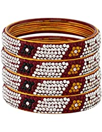 Pass Pass Floral Bangle For Womens And Girls Set Of 4