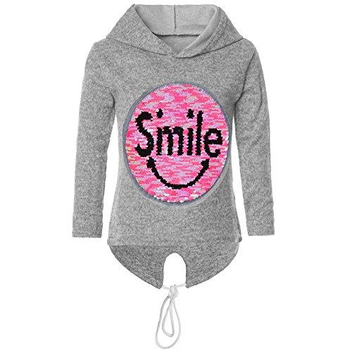 BEZLIT Mädchen Kapuzen Pullover Pulli Wende Pailletten Sweatshirt Hoodie 21544, Farbe:Grau, Größe:152